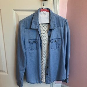 Light Jean button down shirt  with lace back